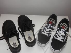 2 PAIRS OF BOYS VANS.. SIZE 2.. BOTH LIKE NEW!!!