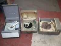 3 x Vintage Retro Record Players Bush Philips Ferguson 1950's 1960's Garage Find
