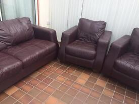 Leather Suite and Armchairs