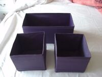 3 Brand new collapsible fabric storage boxes