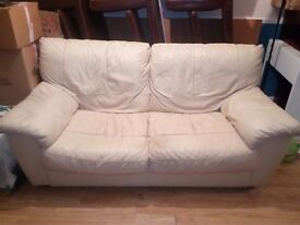 2+3seater cream leather sofas