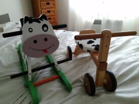Wooden rocking cow and bike