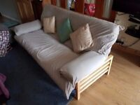 Futon 3 Seater with Arm Cushions (Double Bed) Metal & Wooden Frame