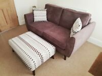 Aurora 2 seat sofa and chair with matching footstool for sale