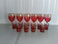 CRANBERRY/GOLD BANDED GLASSES