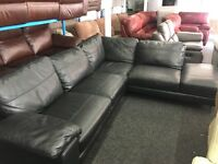 New/Ex Display ScS Black Leather Morden Corner Sofa