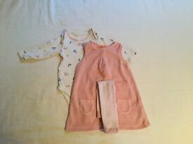 Girls 3piece dress outfit 6-9months from m&s