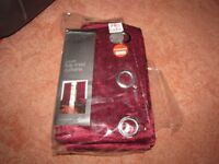 """Red Velvet Eyelet Fully Lined Curtains 66x72"""" approx - New and unused"""