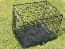 small collapsible 2 door dog cage / dog crate with easy clean plastic tray
