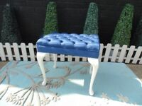 STUNNING SOLID WOOD FRAME DRESSING TABLE STOOL THE SEAT IS COVERED WITH BLUE VELVET FABRIC
