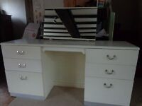 White 6 Drawer Dressing Table with Mirror