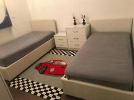 2 single beds and furnitures ,rug,mattresses