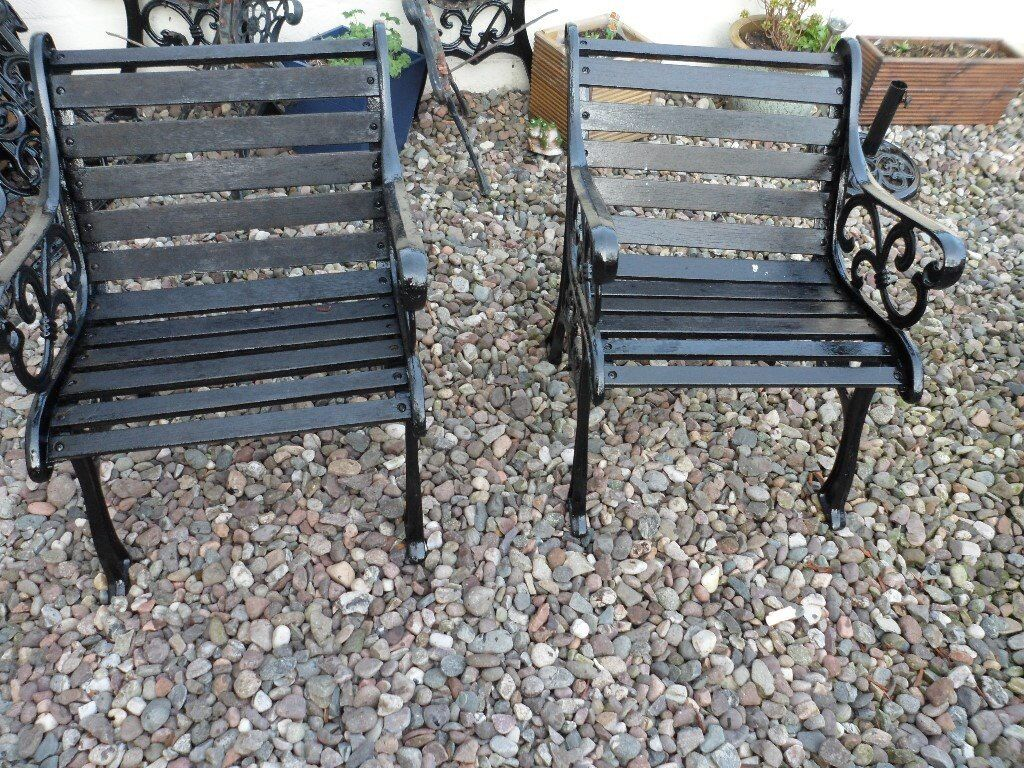 Cast Iron Garden Table And Chairs And Bench Ends In