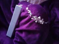 Ateliar Diagonal ivory wedding dress size 12. Handmade bouquet. Stirling silver tiara