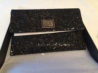 Black Anya Hindmarch 'Valorie' glitter clutch bag