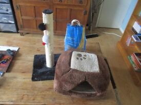 Cat scratching post, cat basket / nest and unopened bag of cat litter