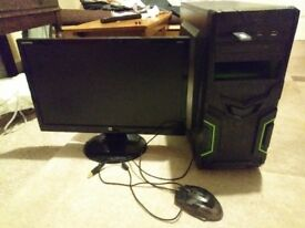 Bare-bones ( no windows) Gaming pc with 22 inch monitor