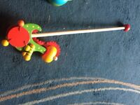 Wooden push along dragon toy for sale