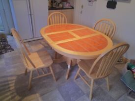 Tile Top extending Dining Table and 4 Chairs,