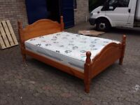 solid pine double bed frame with 12 inch thick like new mattress