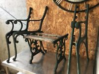 Cast Iron Garden Furniture Set / 2 Chairs & Drinks Table- COLLECTION OR DELIVERY
