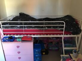 Cream/off white metal mid sleeper bed frame