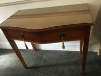 Gorgeous Vintage Serpentine Front Yew Side Hall Writing Table with 2 Drawers