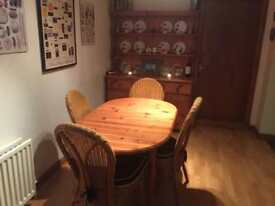 Pine dresser with table and 4 chairs