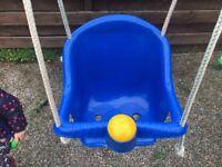 Blue child's swing