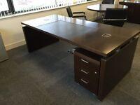 Executive Dark Brown Wood Office Desk
