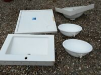 4x cast resin sinks 1x shower tray never used. See details for dimensions
