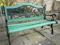 Garden bench - 4' long - black metal end supports and rose design back, with timber slats