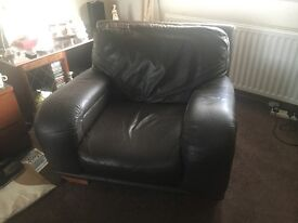 3 seater and 2 chairs - dark brown leather