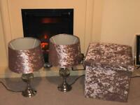 Two blush pink crystal table lamps and matching storage box