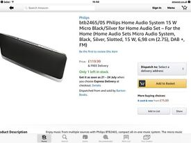 FLAT, HIFI MUSIC SYSTEM PHILIPS AUDIO CENTRE.SIX MONTHS OLD. UNWANTED GIFT