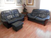Ekorness stressless 2 seater reclining settes + stool