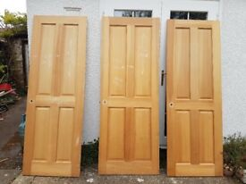 3 wooden 4 panel interior doors