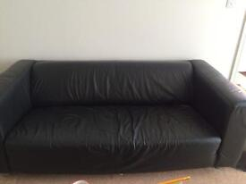Two seater leather sofa from ikea