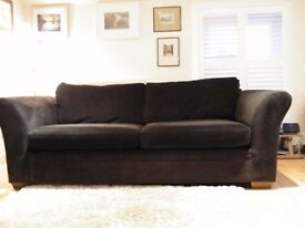Next dark brown velvet material large sofa