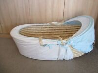 Complete M&S Wicker Baby moses basket. Very Litle Use. White with blues and lemons. Cost £45