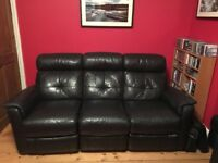 Black leather three seat reclining sofa, can be five seat corner sofa available.