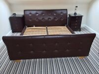 Leather SuperKing bed frame 6ft x 6ft 6""