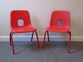 Set 2 Kids vintage chairs stacking chairs red Kids Room Play room Shell Chair prop furniture nursery