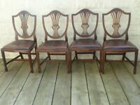 Four Mahogany and Leather Antique Chairs