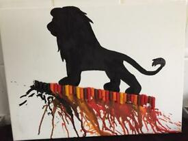 Lion king melted crayon canvas