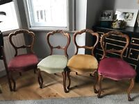 Rare set of 4 Victorian ballon carved wood chairs