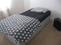 MODERN SINGLE DIVAN WITH CLEAN COMFORTABLE MATTRESS. CASTORS. VIEWING/DELIVERY AVAILABLE
