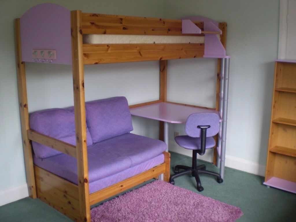 Stompa high sleeper with desk, double sofa-bed, book case ...