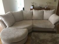 Sofa - Light Beige Material & Suede with matching stool