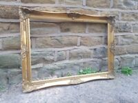 Large Vintage Antique French Picture Frame Gold Gilt Gilded Gild Rectangular Wooden Art Wall Empty
